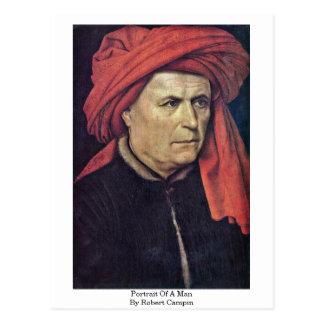 Portrait Of A Man By Robert Campin Postcard