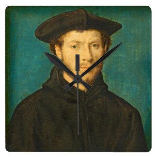 Portrait of a Man, c. 1536- 40 (oil on walnut) Square Wall Clocks