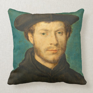 Portrait of a Man, c. 1536- 40 (oil on walnut) Throw Pillow
