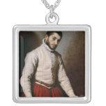 Portrait of a Man  c.1570 Square Pendant Necklace