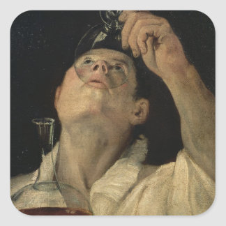 Portrait of a Man Drinking, c.1581-4 (oil on canva Square Sticker