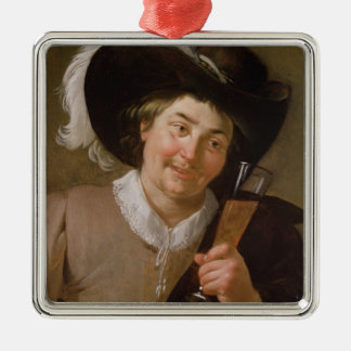 Portrait of a Man Holding a Wine Glass Metal Ornament