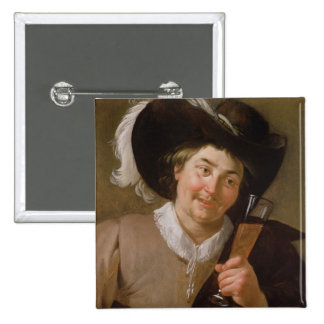 Portrait of a Man Holding a Wine Glass Pinback Button