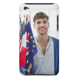 Portrait of a man holding flags of various iPod touch Case-Mate case
