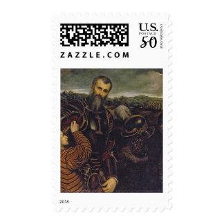 Portrait of a man in armor postage