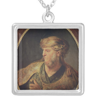 Portrait of a Man in Oriental Costume, 1633 Silver Plated Necklace