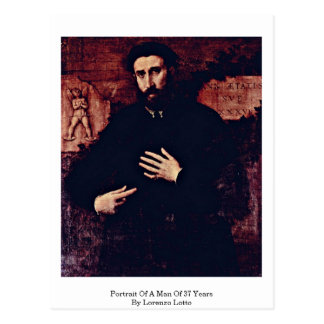 Portrait Of A Man Of 37 Years By Lorenzo Lotto Postcard