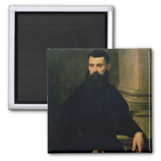Portrait of a Man (oil on canvas) 2 2 Inch Square Magnet