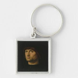 Portrait of a Man, or The Condottiere, 1475 (oil o Keychain