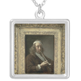 Portrait of a man, said to be the artist silver plated necklace