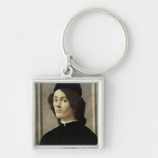 Portrait of a Man Silver-Colored Square Keychain