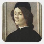 Portrait of a Man Square Stickers