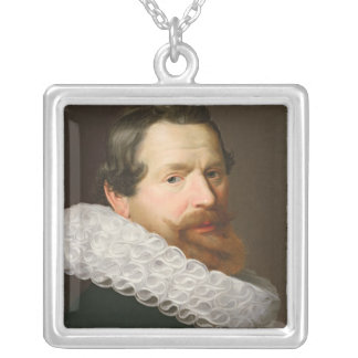 Portrait of a Man Wearing a Ruff Square Pendant Necklace