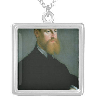 Portrait of a man with a ginger beard silver plated necklace