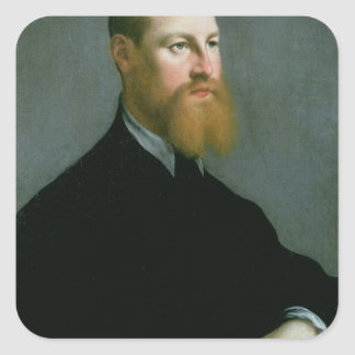 Portrait of a man with a ginger beard square sticker