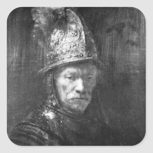 Portrait of a Man with a Golden Helmet, 1648 Square Sticker