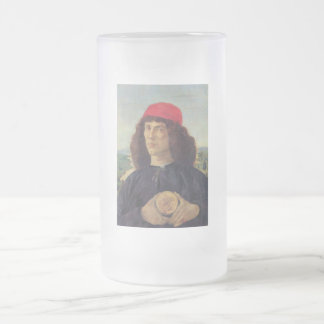 Portrait of a man with a medal of Cosimo the Elder Frosted Glass Beer Mug