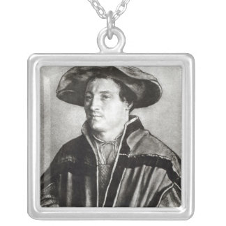 Portrait of a man with a red hat, c.1530 personalized necklace