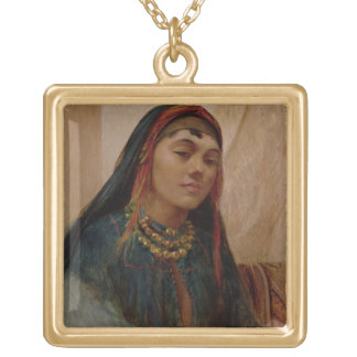 Portrait of a Middle Eastern Girl, c.1859 (oil on Square Pendant Necklace