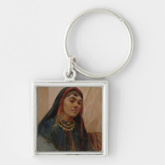 Portrait of a Middle Eastern Girl, c.1859 (oil on Silver-Colored Square Keychain