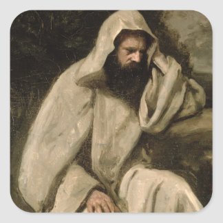 Portrait of a Monk, c.1840-45 (oil on canvas) Square Sticker