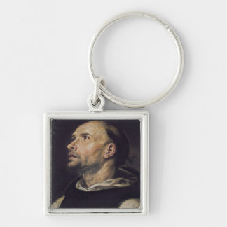 Portrait of a Monk Silver-Colored Square Keychain