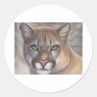 Portrait of a Mountain Lion Classic Round Sticker