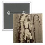 Portrait of a Native American from 'Buffalo Bill's 2 Inch Square Button