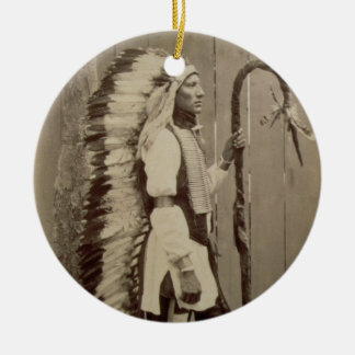 Portrait of a Native American from 'Buffalo Bill's Double-Sided Ceramic Round Christmas Ornament