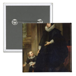 Portrait of a Nobleman and his Child Pinback Button