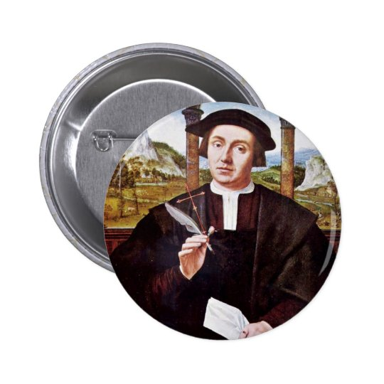 Portrait Of A Notary By Quentin Massys Pinback Button
