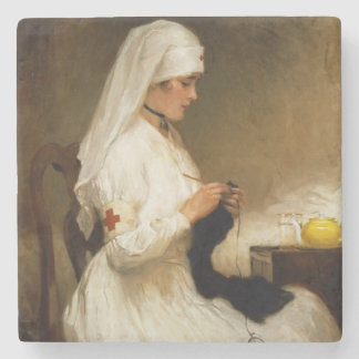 Portrait of a Nurse from the Red Cross Stone Beverage Coaster