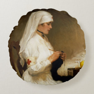 Portrait of a Nurse from the Red Cross Round Pillow