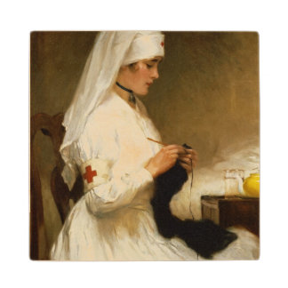 Portrait of a Nurse from the Red Cross Wood Coaster