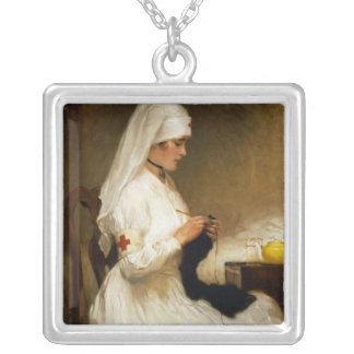 Portrait of a Nurse from the Red Cross Square Pendant Necklace