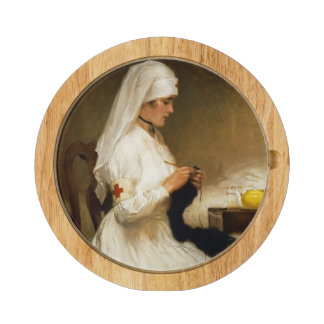 Portrait of a Nurse from the Red Cross Round Cheeseboard