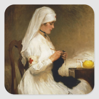 Portrait of a Nurse from the Red Cross Square Sticker