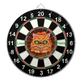 Portrait of a orange cat dart board