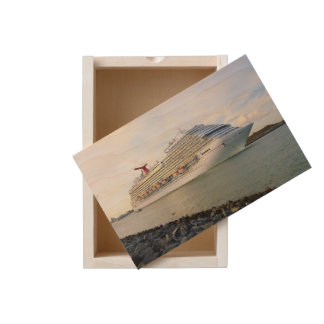 Portrait of a Passing Cruise Ship Wooden Keepsake Box