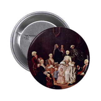 Portrait Of A Patrician Family By Longhi Pietro Pinback Buttons