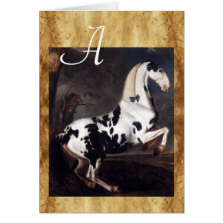 Portrait of a Piebald Horse Parchment Monogram Card