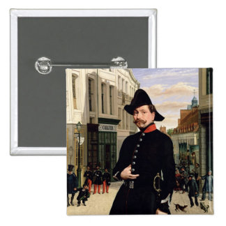 Portrait of a Police Officer in Douai in 1848 2 Inch Square Button