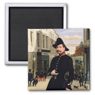 Portrait of a Police Officer in Douai in 1848 2 Inch Square Magnet