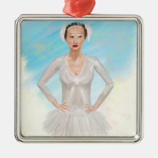 Portrait of a Prima Ballerina - Painting Square Metal Christmas Ornament