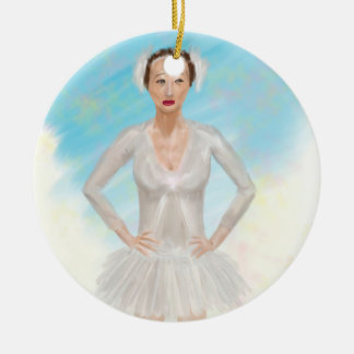 Portrait of a Prima Ballerina - Painting Double-Sided Ceramic Round Christmas Ornament