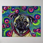 Portrait of a Pug Bubbles Poster