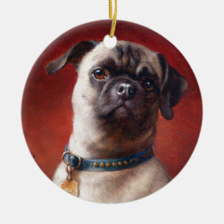 Portrait of a Pug by Carl Reichert Ceramic Ornament