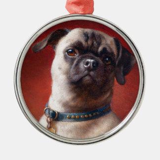 Portrait of a Pug by Carl Reichert Metal Ornament