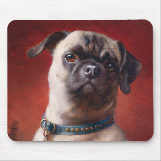 Portrait of a Pug by Carl Reichert Mouse Pad