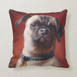 Portrait of a Pug by Carl Reichert Throw Pillow